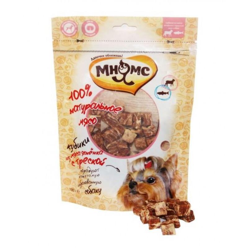 Лакомство для собак Мнямс Кубики из мяса ягненка с треской 0,1 кг