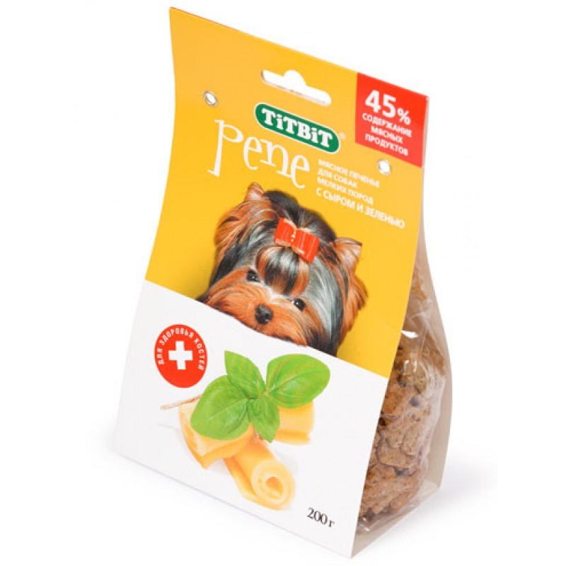 Лакомство для собак Titbit Печенье Pene с сыром и зеленью 0,2 кг