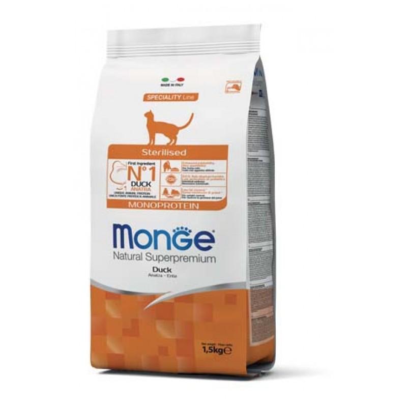 Сухой корм для кошек Monge Cat Monoprotein Sterilised для стерилизованных с уткой 1,5 кг