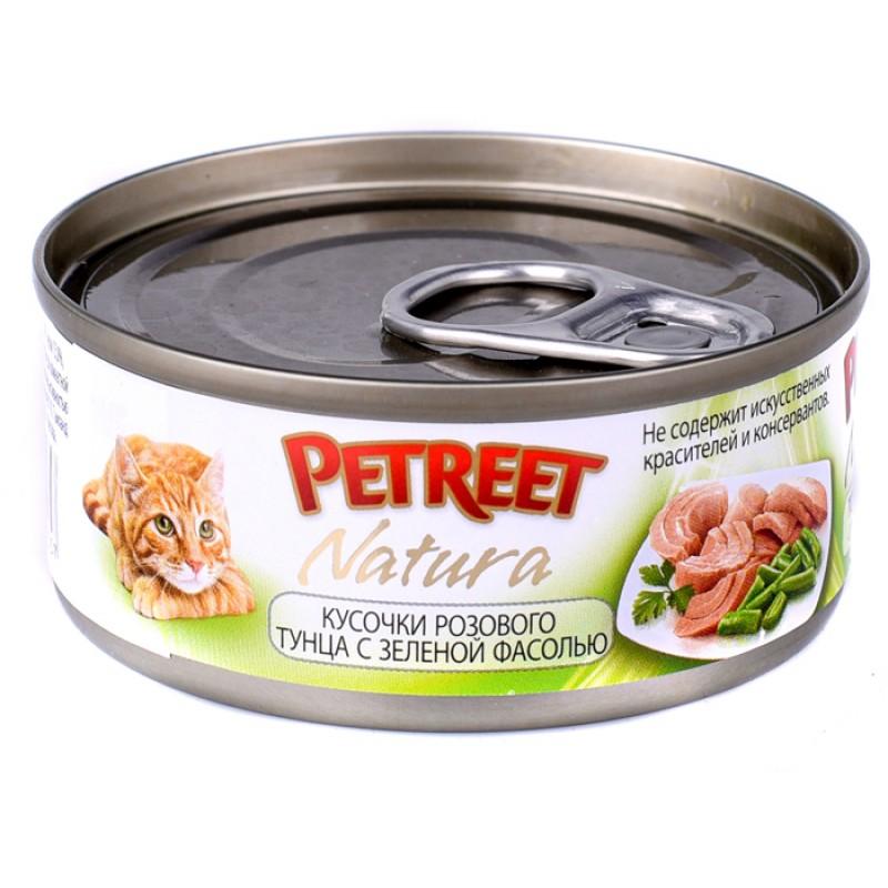 Влажный корм для кошек Petreet Кусочки розового тунца с зеленой фасолью 0,07 кг