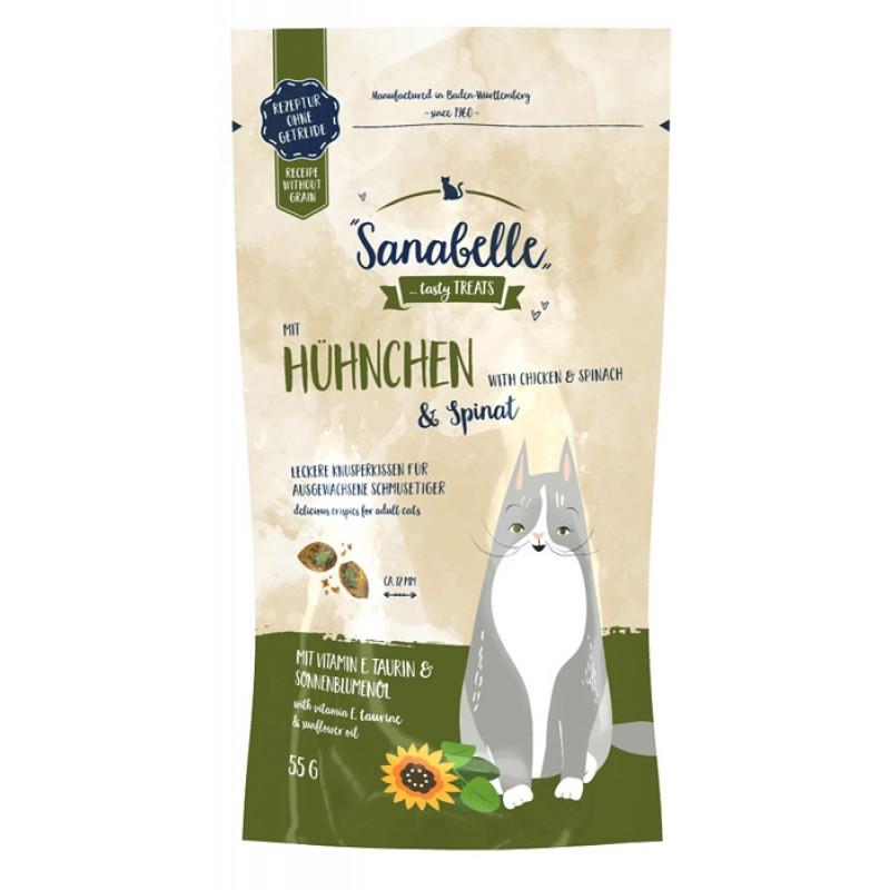 Лакомство для кошек Sanabelle Snack с курицей и шпинатом 0,055 кг
