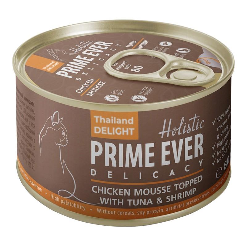 Влажный корм для кошек Prime Ever Delicacy Мусс цыпленок с тунцом и креветками 0,08 кг