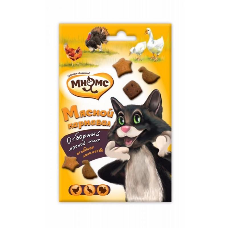 Лакомство для кошек Мнямс Мясной карнавал Утка, индейка, курица 0,05 кг