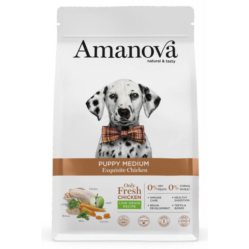 Сухой корм для щенков Amanova Puppy Medium с изысканной курочкой для средних пород 12 кг