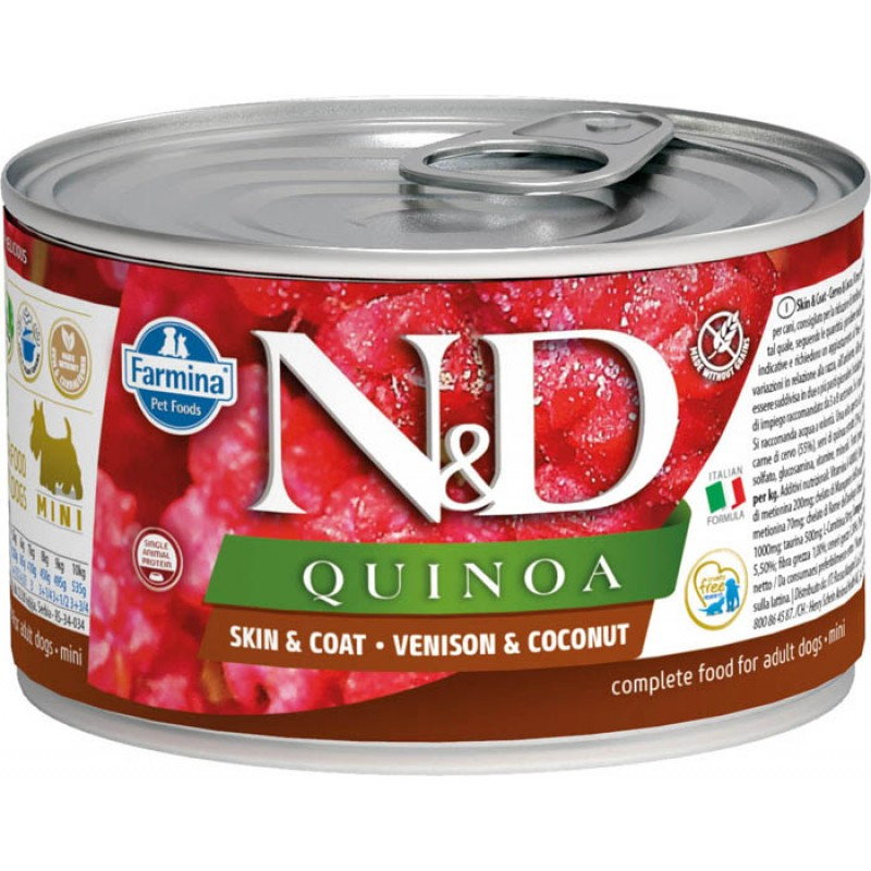 Влажный корм для собак Farmina N & D Quinoa Venison & Coconut Mini с олениной, киноа и кокосом для маленьких пород 0,14 кг
