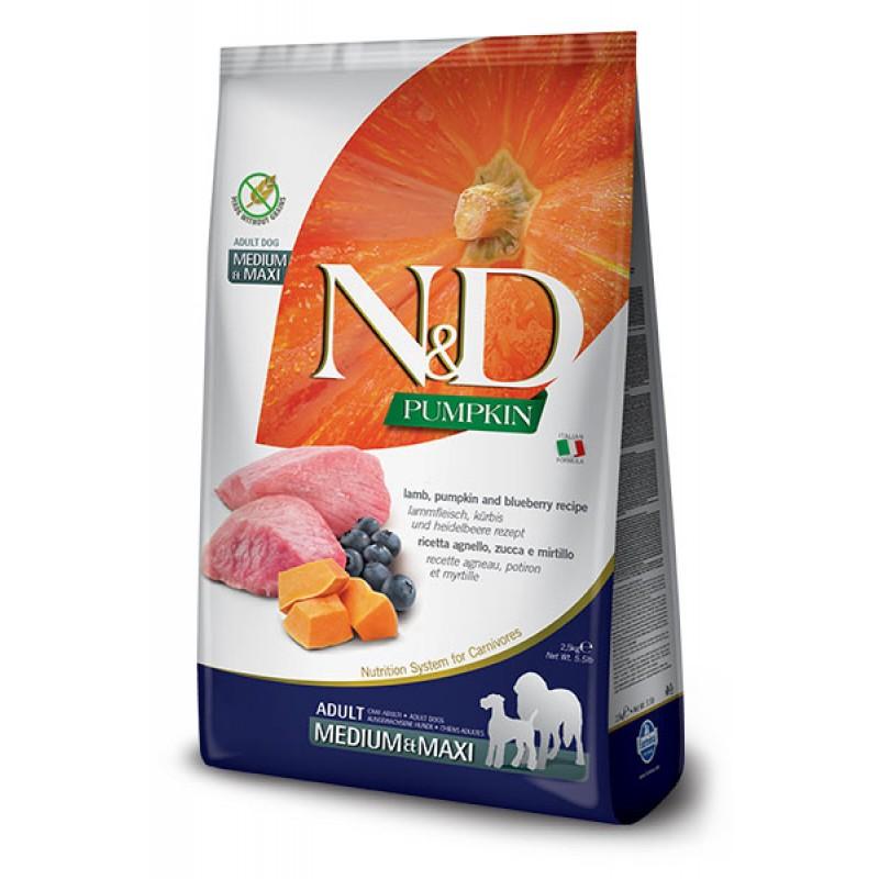 Сухой корм для собак Farmina N&D Pumpkin Adult Medium & Maxi беззерновой с ягненком, черникой и тыквой 2,5 кг