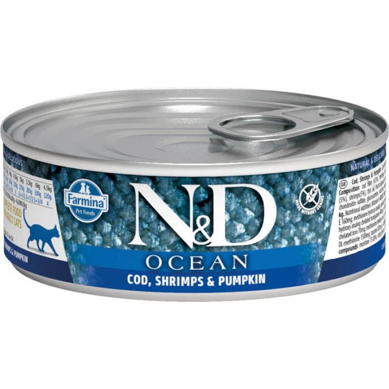 Влажный корм для кошек Farmina N & D Ocean Cod, Shrimp & Pumpkin с треской, креветками и тыквой 0,08 кг