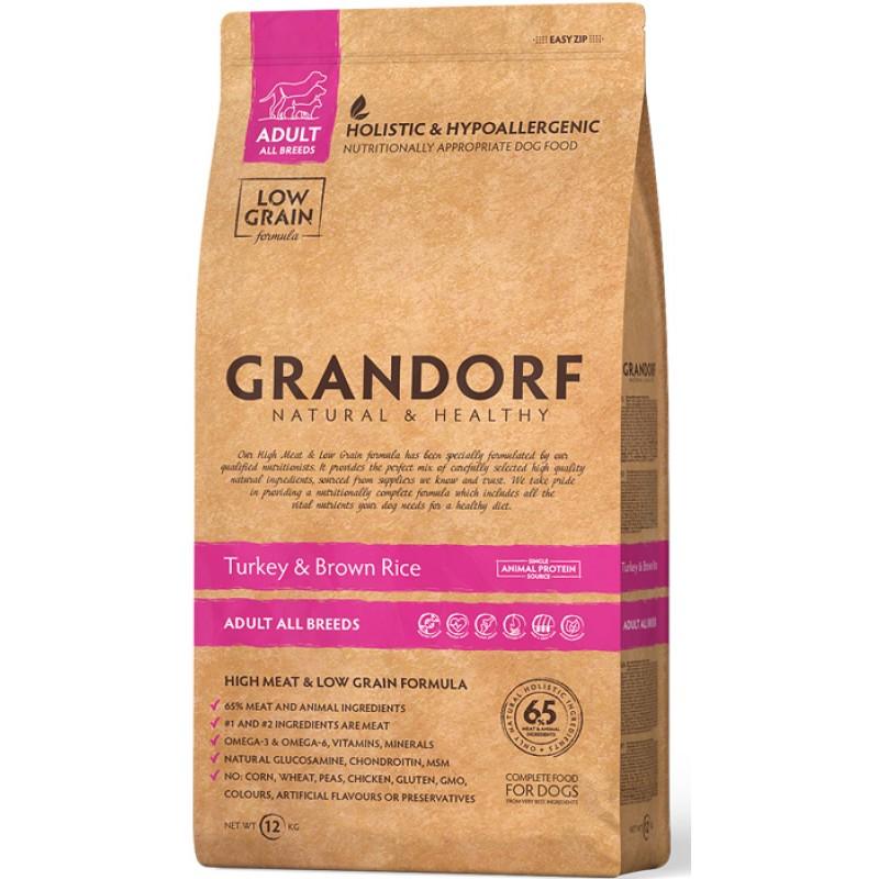 Сухой корм для собак Grandorf Индейка с рисом 12 кг