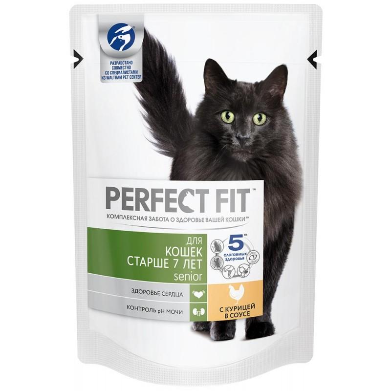 Влажный корм для кошек Perfect Fit Senior с курицей в соусе 0,085 кг