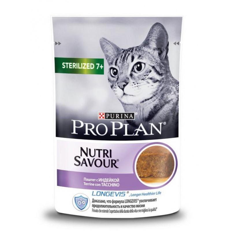Влажный корм для кошек Purina Pro Plan Nutrisavour для стерилизованных старше 7 лет паштет с индейкой 0,085 кг