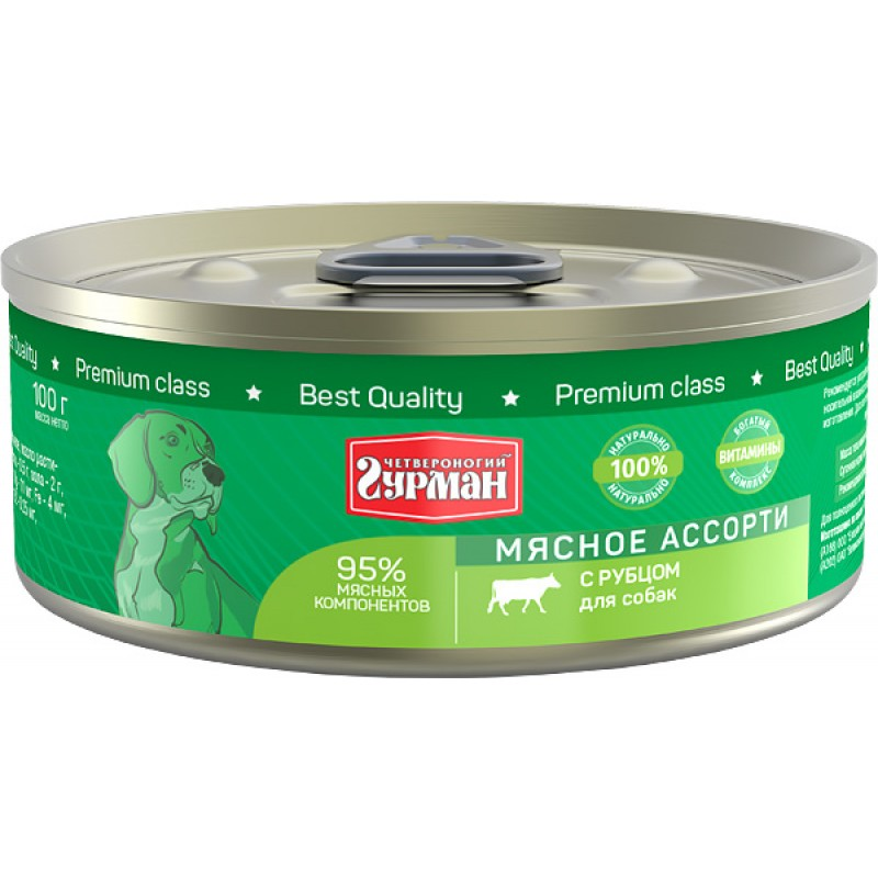 Влажный корм для собак Четвероногий Гурман Мясное ассорти с рубцом 0,1 кг
