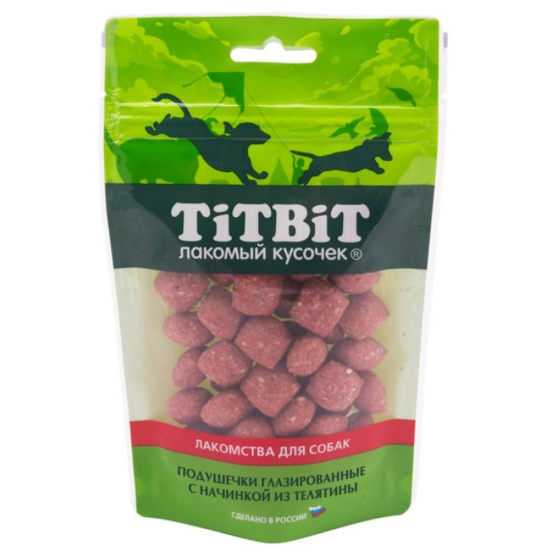 Лакомство для собак Titbit Подушечки глазированные с начинкой из телятины 0,1 кг
