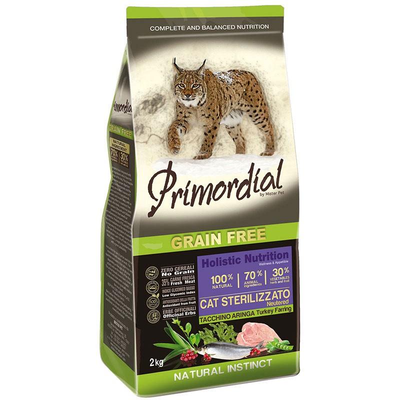 Сухой корм для кошек Primordial беззерновой с индейкой для стерилизованных 6 кг