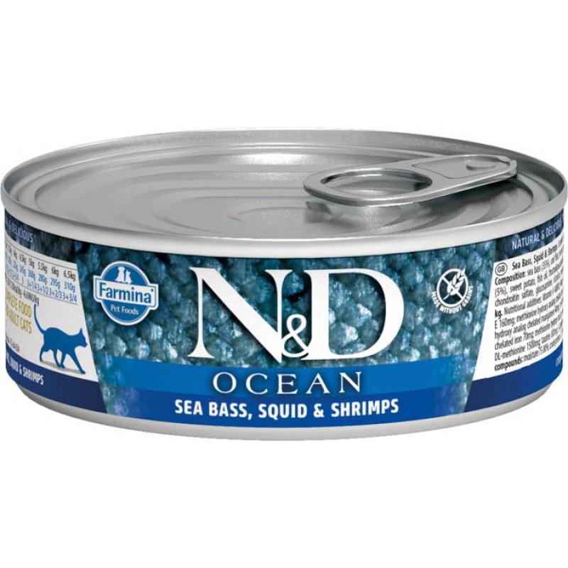 Влажный корм для кошек Farmina N & D Ocean Sea Bass, Squid & Shrimp с сибасом, кальмарами и креветками 0,08 кг