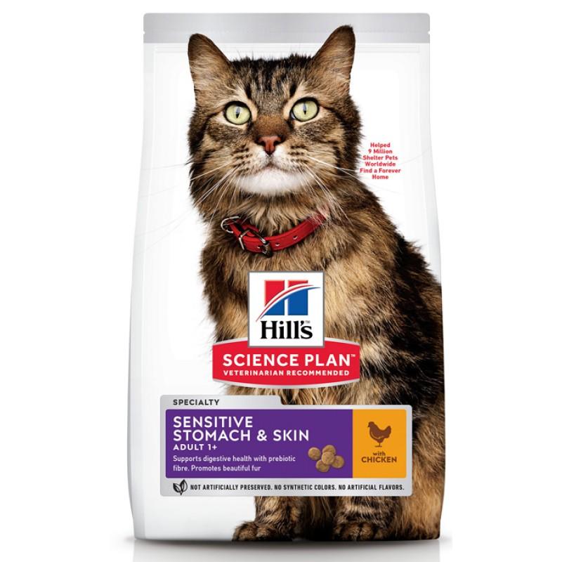 Сухой корм для кошек Hills Science Plan Feline Adult Sensitive Stomach&Skin Chicken 0,3 кг