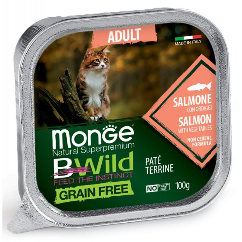 Влажный корм для кошек Monge Bwild Grain free из лосося с овощами 0,1 кг