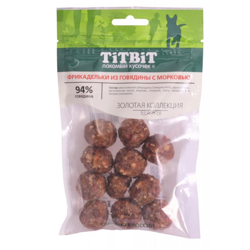 Лакомство для собак Titbit Фрикадельки из говядины с морковью 0,07 кг