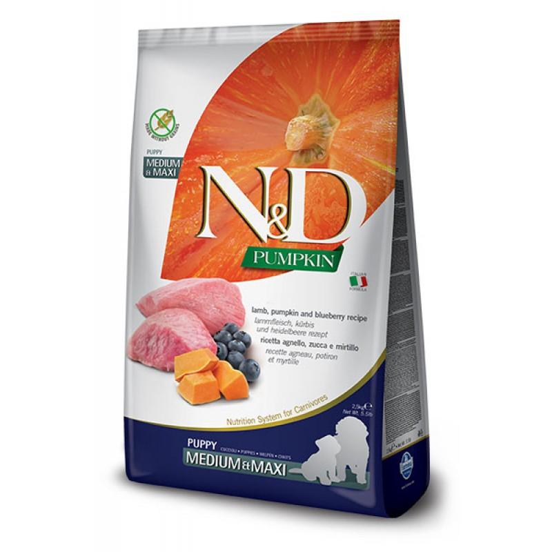Сухой корм для щенков Farmina N&D Pumpkin Puppy Medium & Maxi беззерновой с ягненком, черникой и тыквой 2,5 кг