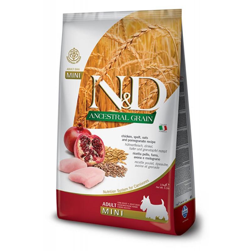 Сухой корм для собак Farmina N&D Ancestral Grain Adult Mini низкозерновой с курицей и гранатом 2,5 кг