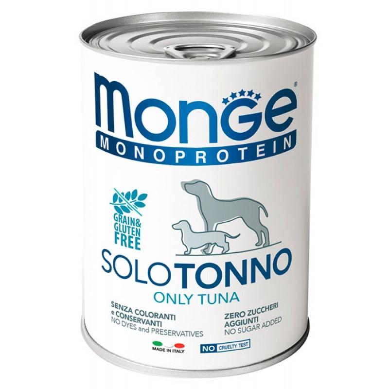 Влажный корм для собак Monge Monoproteico Solo паштет из тунца 0,4 кг