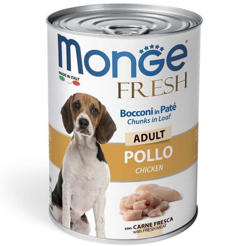 Влажный корм для собак Monge Fresh Chunks in Loaf мясной рулет курица 0,4 кг