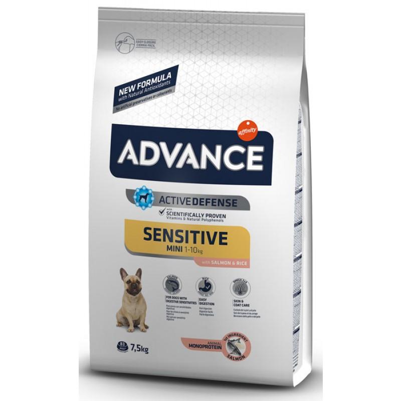 Сухой корм для собак Advance Mini Sensitive для маленьких пород с чувствительным пищеварением с лососем и рис 7,5 кг
