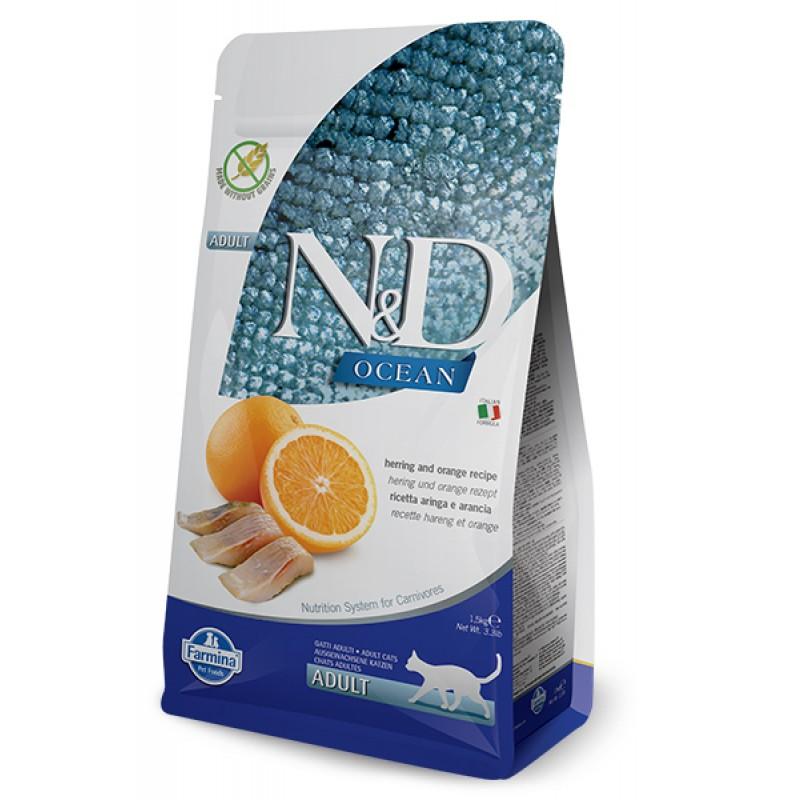 Сухой корм для кошек Farmina N&D Ocean Adult беззерновой с сельдью и апельсином 1,5 кг