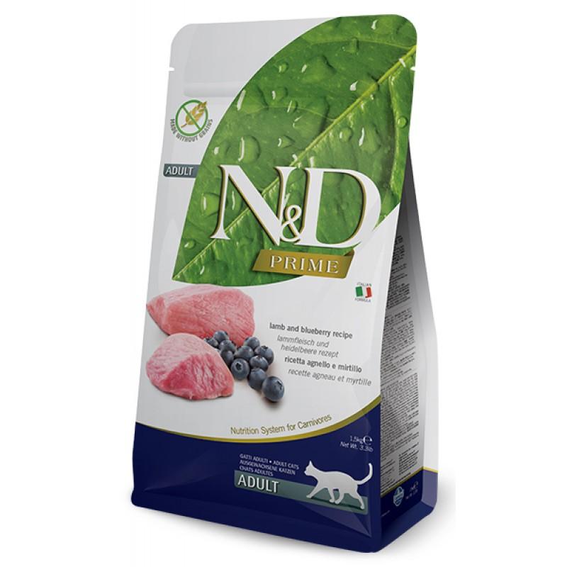 Сухой корм для кошек Farmina N&D Prime Adult беззерновой с ягненком и черникой 10 кг
