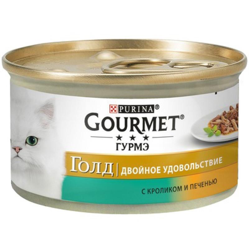 Влажный корм для кошек Gourmet Gold Duo кусочки в подливе с кроликом и печенью 0,085 кг