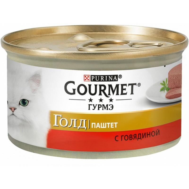 Влажный корм для кошек Gourmet Gold паштет с говядиной 0,085 кг