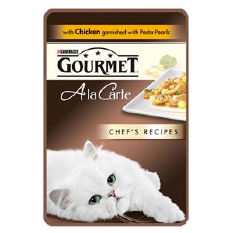 Влажный корм для кошек Gourmet A la Carte пауч Курица с пастой и шпинатом а-ля Перлини 0,085 кг