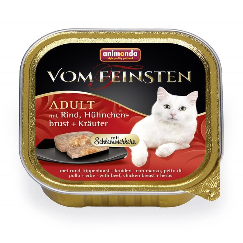 Влажный корм для кошек Animonda Vom Feinsten Adult с говядиной, куриной грудкой и травами 0,1 кг