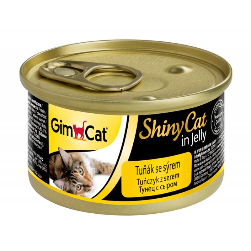 Влажный корм для кошек Gimborn GimCat ShinyCat с тунцом и сыром 0,07 кг