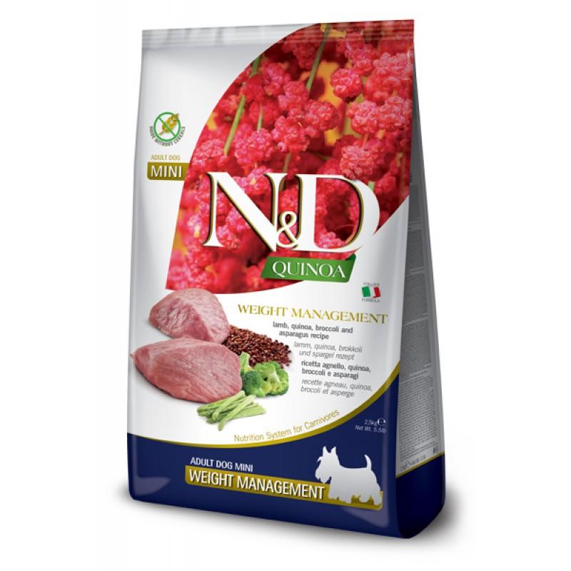 Сухой корм для собак Farmina N&D Quinoa Weight Management Mini беззерновой с ягненком и киноа 2,5 кг