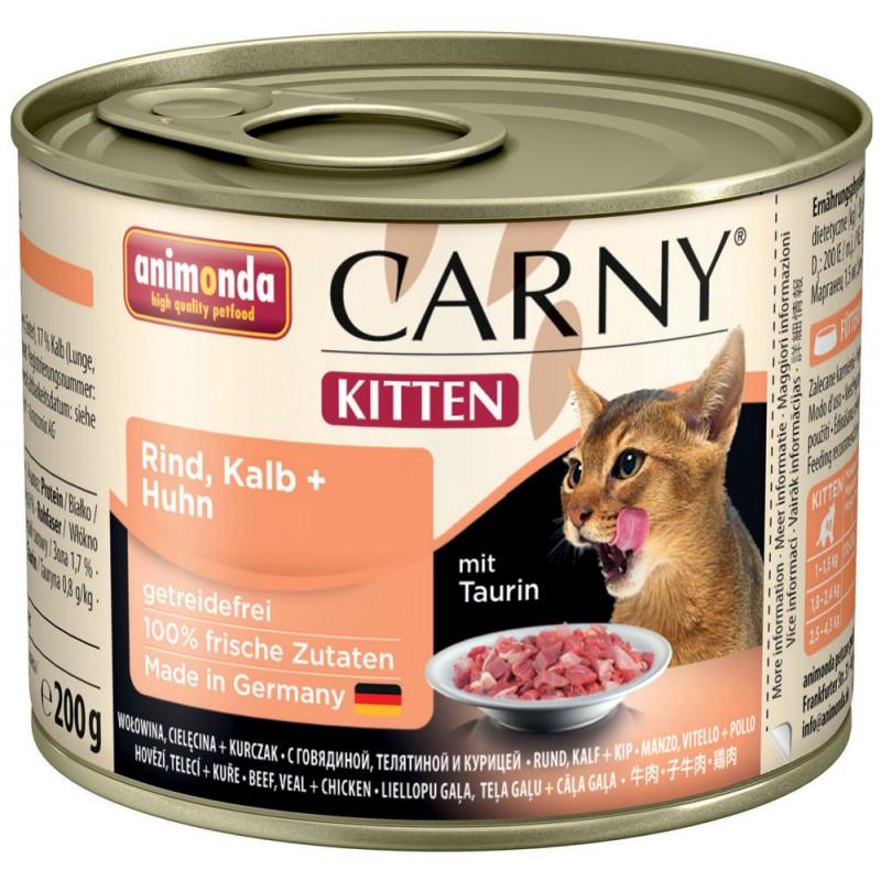Влажный корм для котят Animonda Carny Kitten с телятиной и курицей 0,2 кг