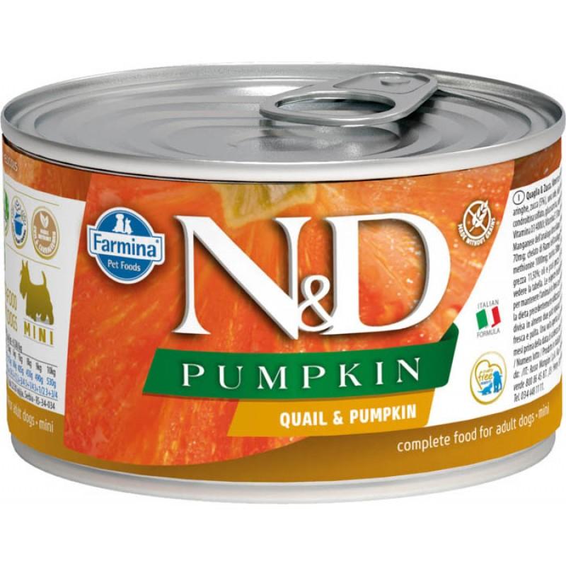 Влажный корм для собак Farmina N & D Quail & Pumpkin Mini с перепелкой и тыквой для маленьких пород 0,14 кг