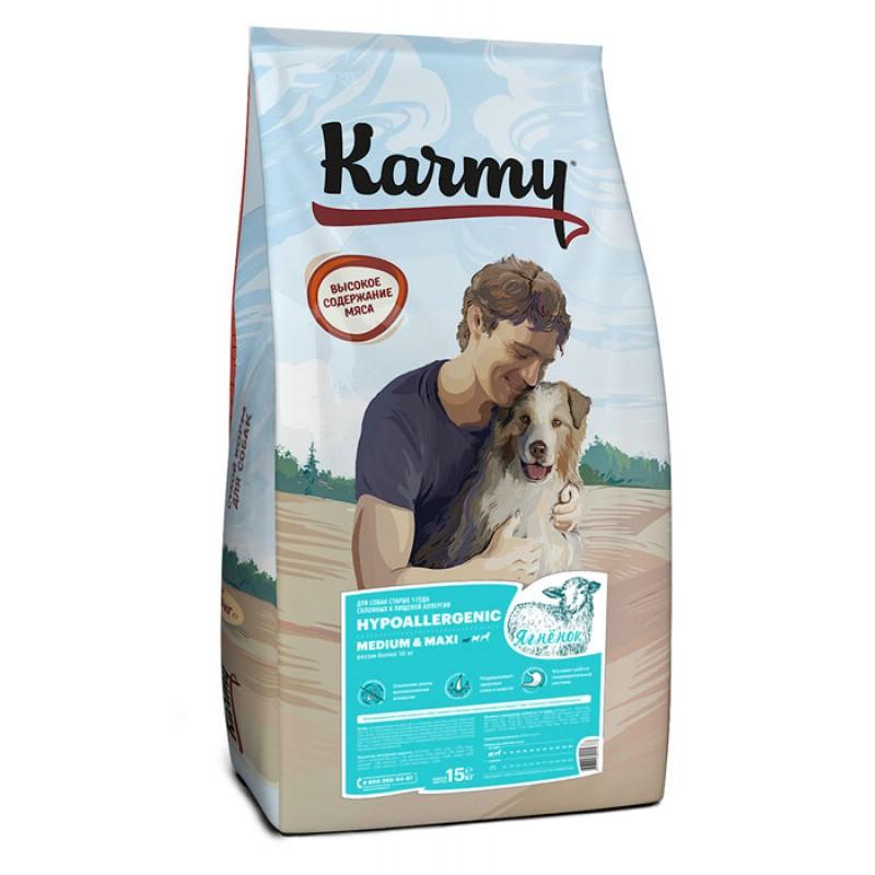 Сухой корм для собак Karmy с ягненком для средних и крупных пород 15 кг
