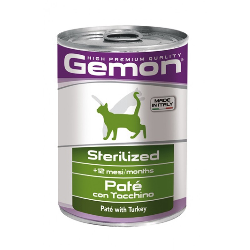 Влажный корм для кошек Gemon Cat Sterilised паштет индейка для стерилизованных 0,4 кг
