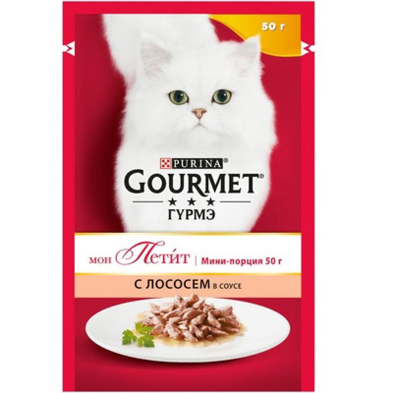 Влажный корм для кошек Gourmet Mon petit пауч с лососем 0,05 кг