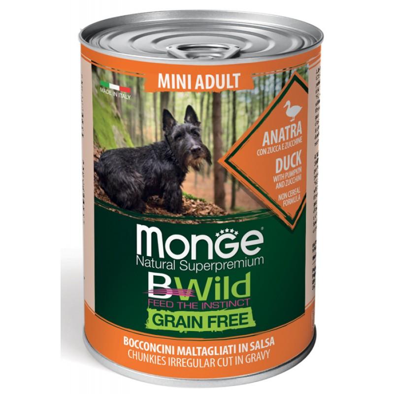 Влажный корм для собак Monge BWild Grainfree Adult Mini из утки с тыквой и кабачками  0,4 кг