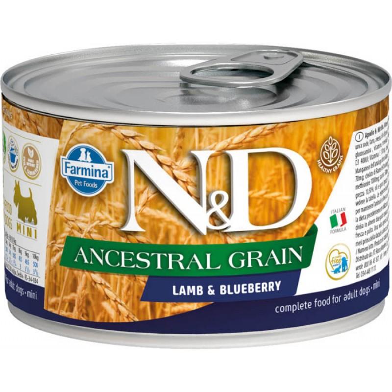 Влажный корм для собак Farmina N & D Ancestral Grain Lamb & Blueberry Mini с ягненком и черникой для маленьких пород 0,14 кг