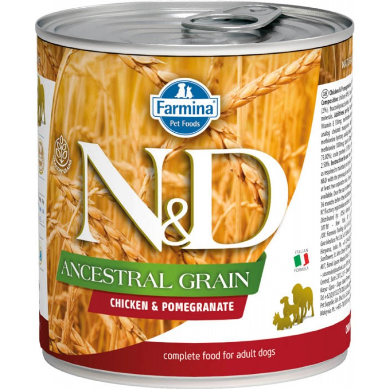 Влажный корм для собак Farmina N & D Ancestral Grain Chicken & Pomegranate с курицей и гранатом 0,285 кг