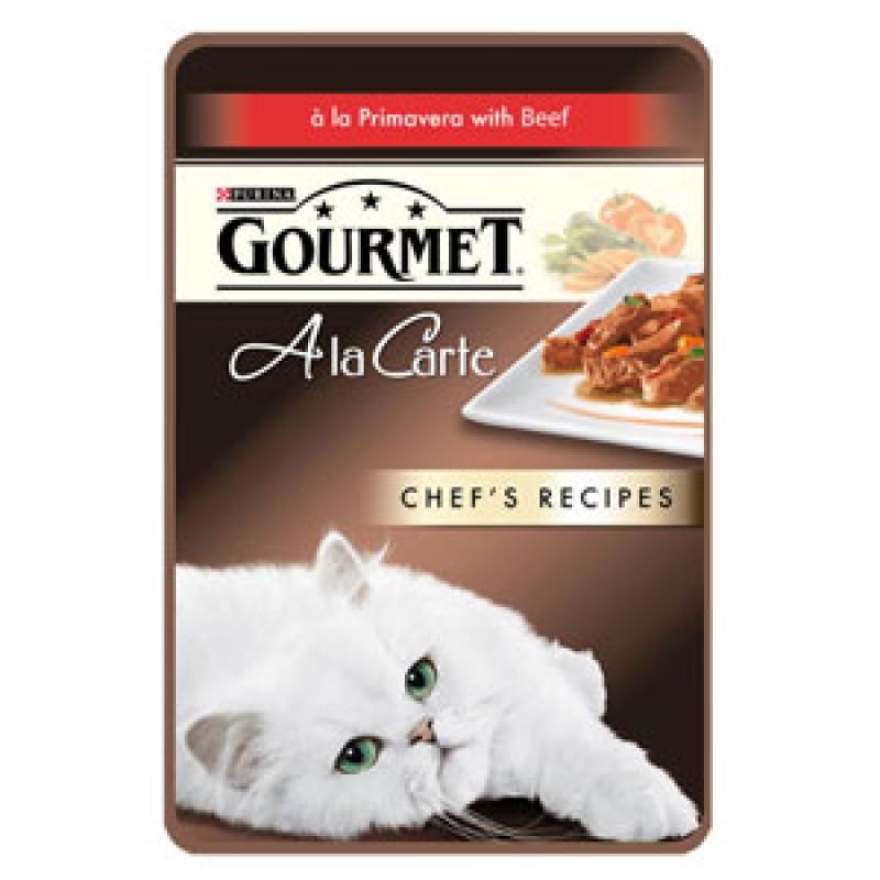 Влажный корм для кошек Gourmet A la Carte пауч говядина с морковью томатом и цукини а-ля Жардин 0,085 кг