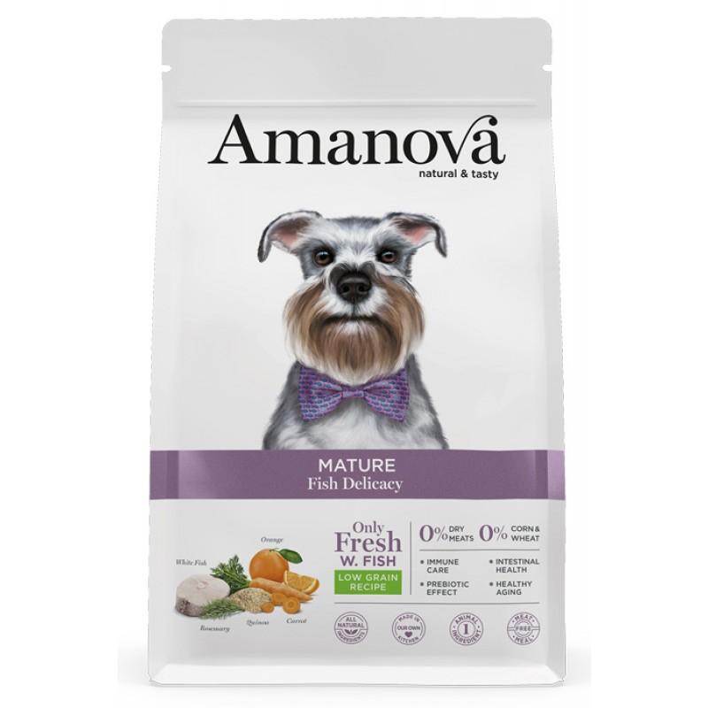 Сухой корм для собак Amanova Adult Mature с лакомой белой рыбкой для пожилых 10 кг