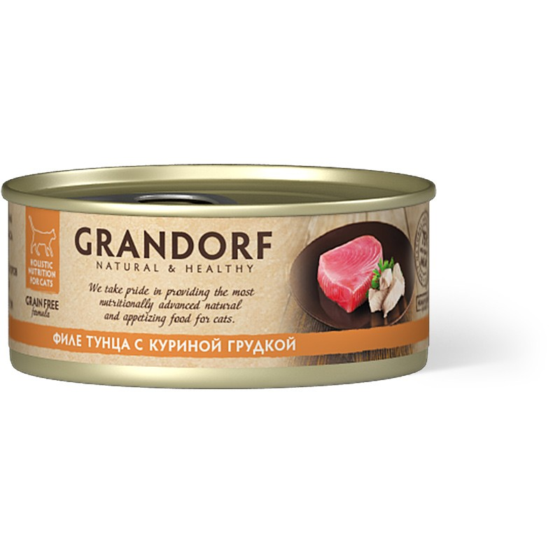 Влажный корм для кошек Grandorf Филе тунца с куриной грудкой 0,07 кг