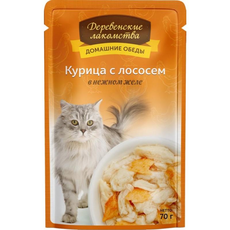 Влажный корм для кошек Деревенские Лакомства Курица с лососем в нежном желе 0,07 кг