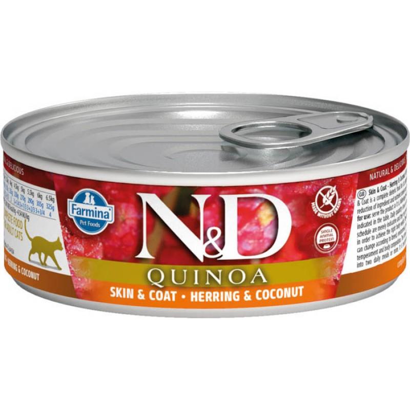 Влажный корм для кошек Farmina N & D Quinoa Herring & Coconut с сельдью, киноа и кокосом 0,08 кг