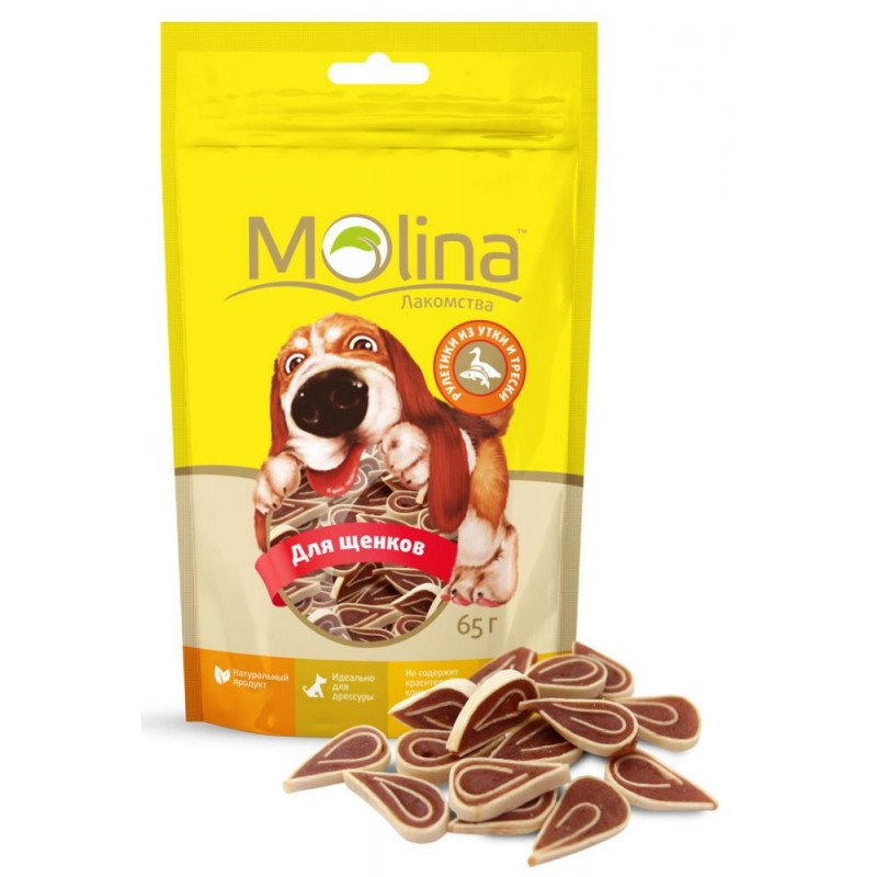 Лакомство для собак Molina Рулетики Из Утки и Трески 0,065 кг