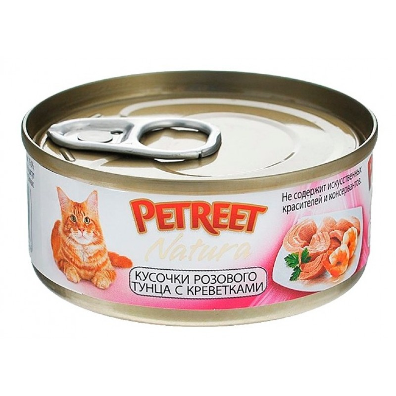 Влажный корм для кошек Petreet Кусочки розового тунца с креветками 0,07 кг