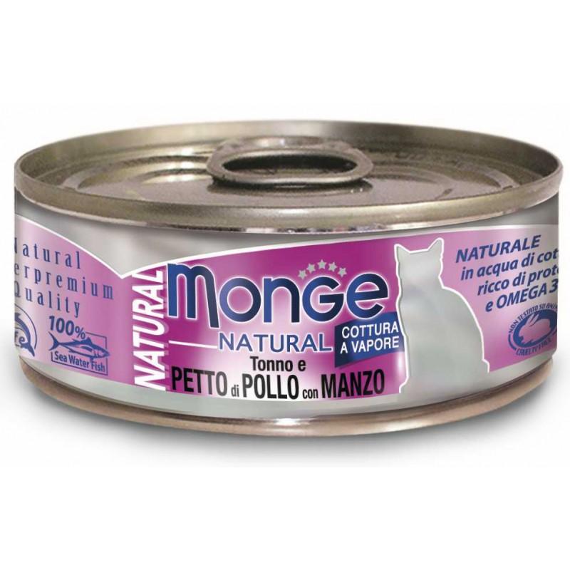 Влажный корм для кошек Monge Natural тунец с курицей и говядиной 0,08 кг